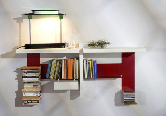 modern invisible wall shelving decor