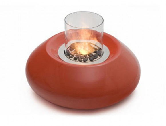 unique round portable fireplace decor