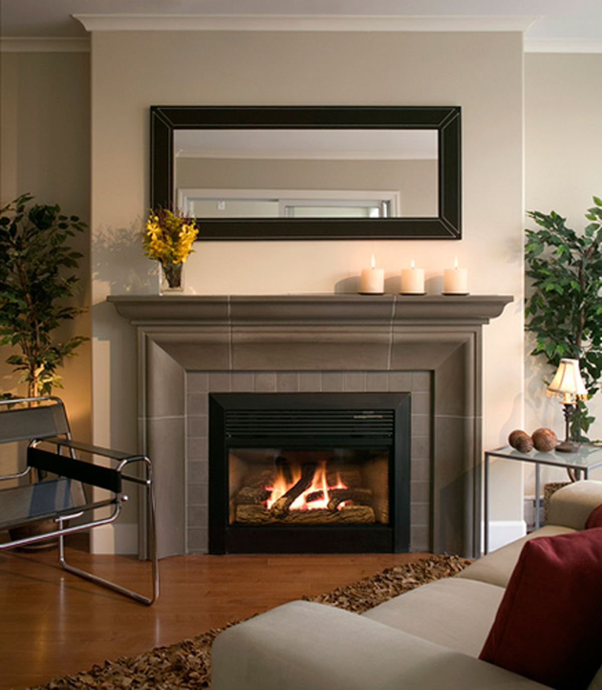 contemporary gas fireplace designs with fascinating decorations ideas