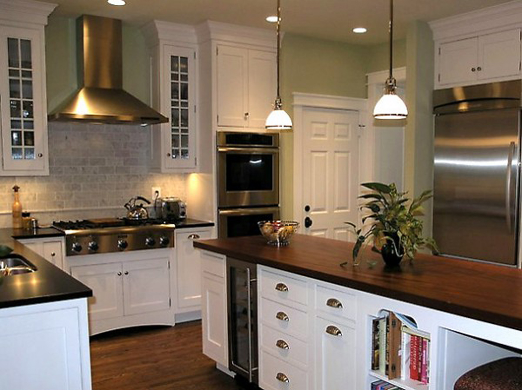 Classic kitchen backsplash designs for Green and white kitchen designs