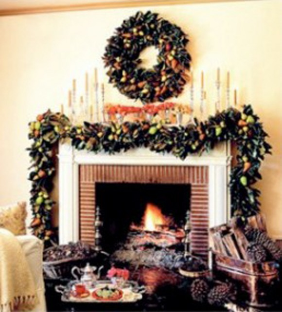 decorative christmas wreaths and mantel decors