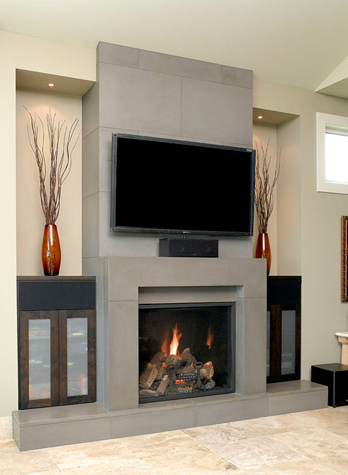 Grey concrete fireplace designs - Fire place walls ...