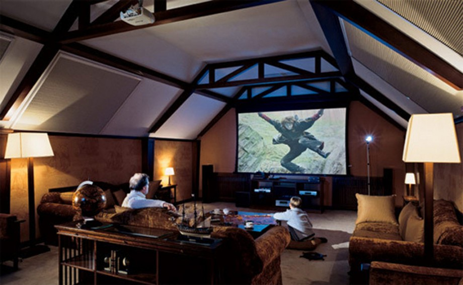 Loft home theater decor layouts for Home theatre decorations