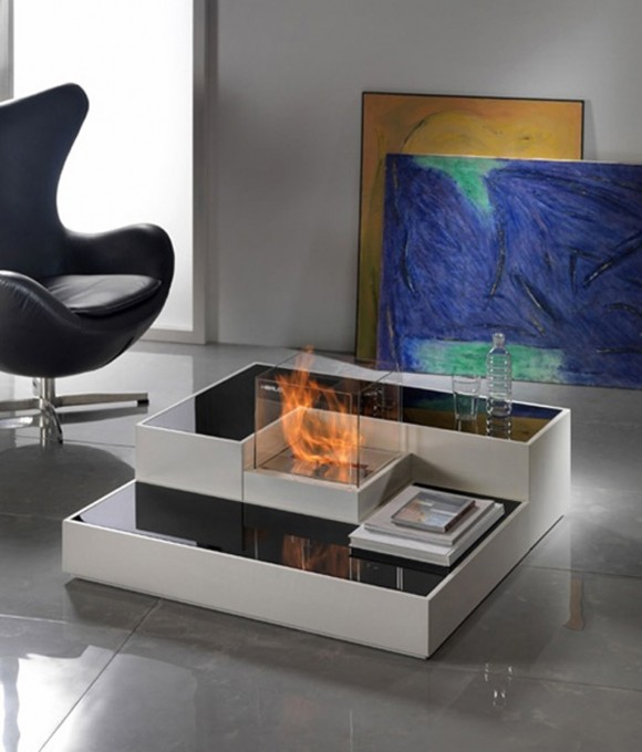modern fireplace table designs