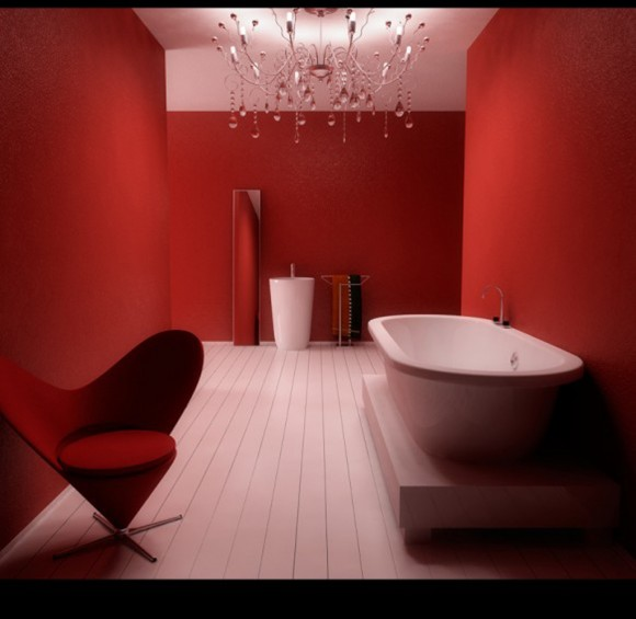 red fashionable bathroom designs