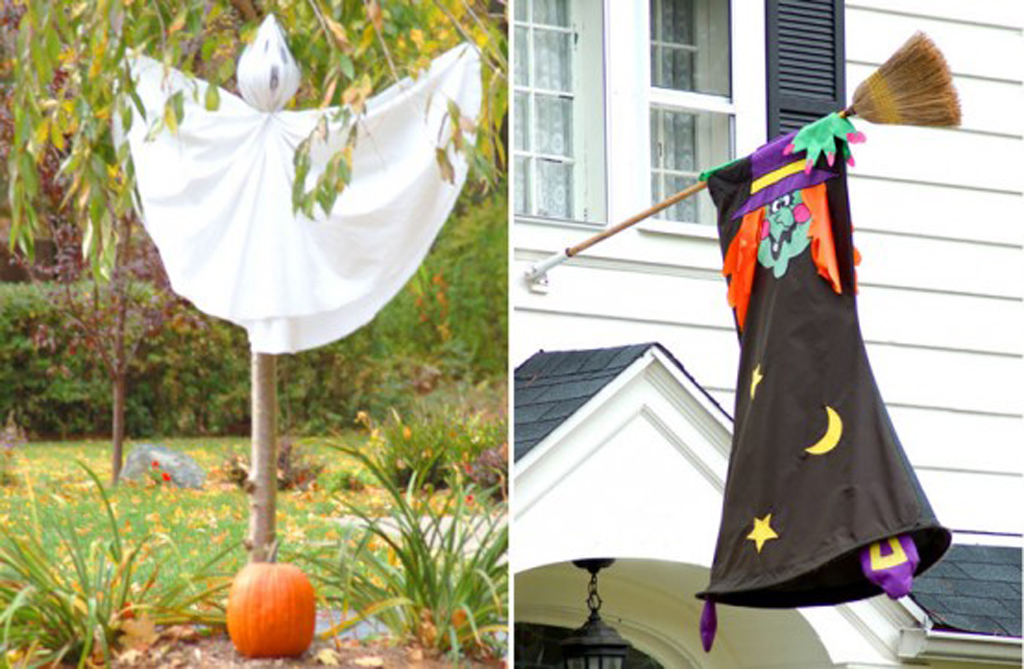 Simple outdoor hallowen decorating ideas for Easy homemade outdoor halloween decorations
