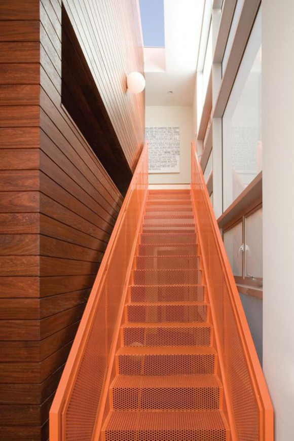 stylish orange staircase designs