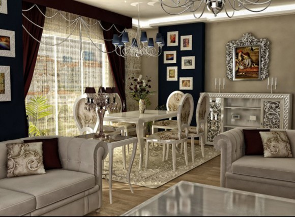 white and shiny living room decorations