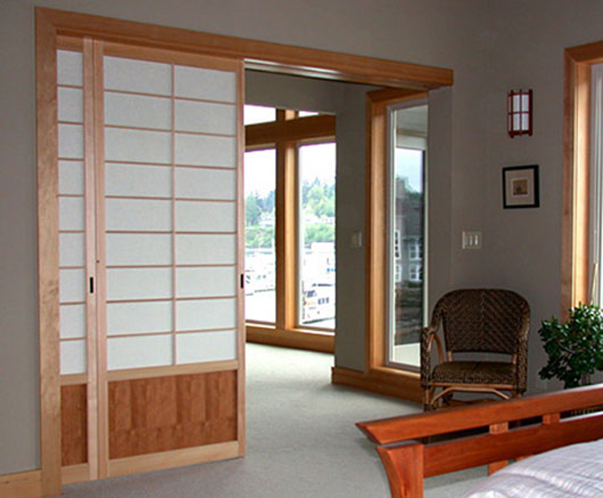 Contemporary japanese sliding door for Sliding door options