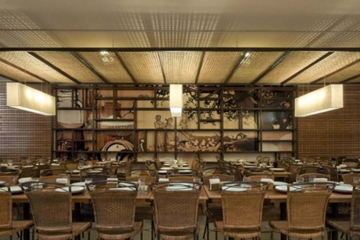 Artistic japanese restaurant designs with vintage layouts
