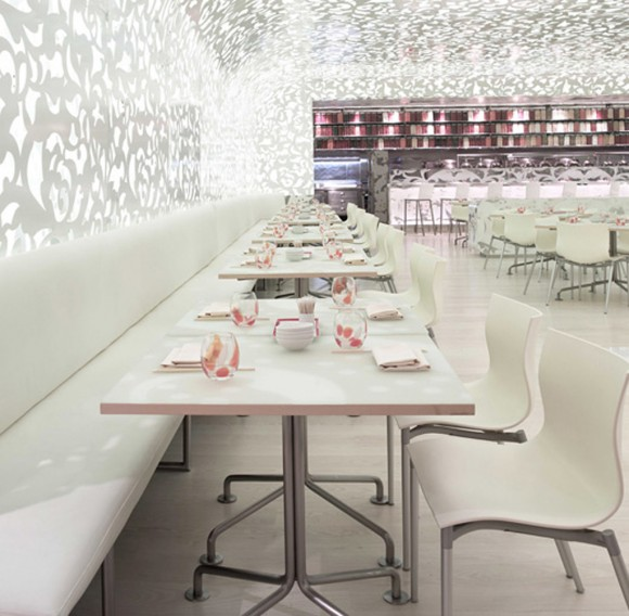 white clean dining room restaurant ideas
