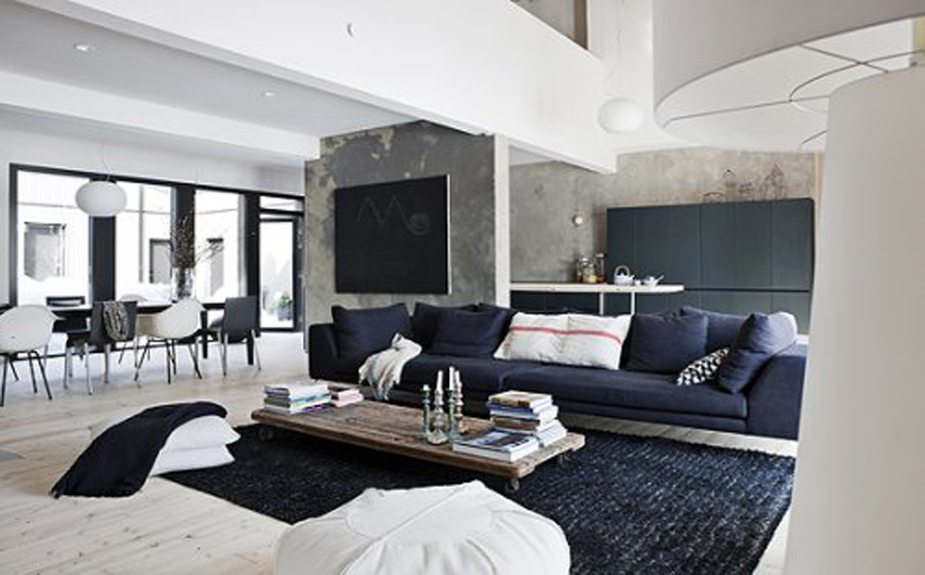 Black and white living room with blue 2015 best auto reviews for Black white and blue living room ideas