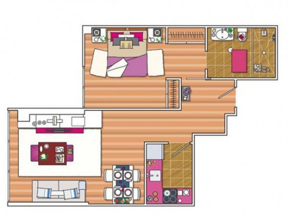distinctive spacious apartment drawing