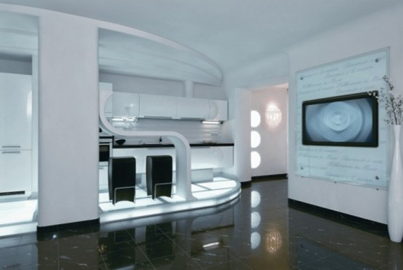 futuristic apartment interior application