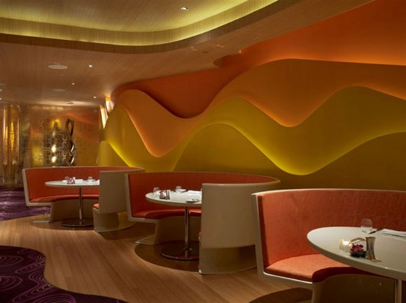 glowing restaurant interior layout