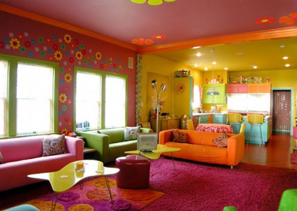 multi-colored beach house living room