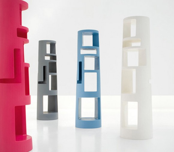 multi-colored bookshelf constructions