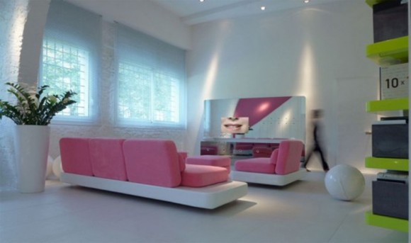 pink feminine urban home interior