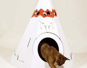 artistic cardboard cat home design