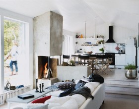 build in kitchen fireplace design