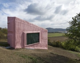 expressive small pink house design
