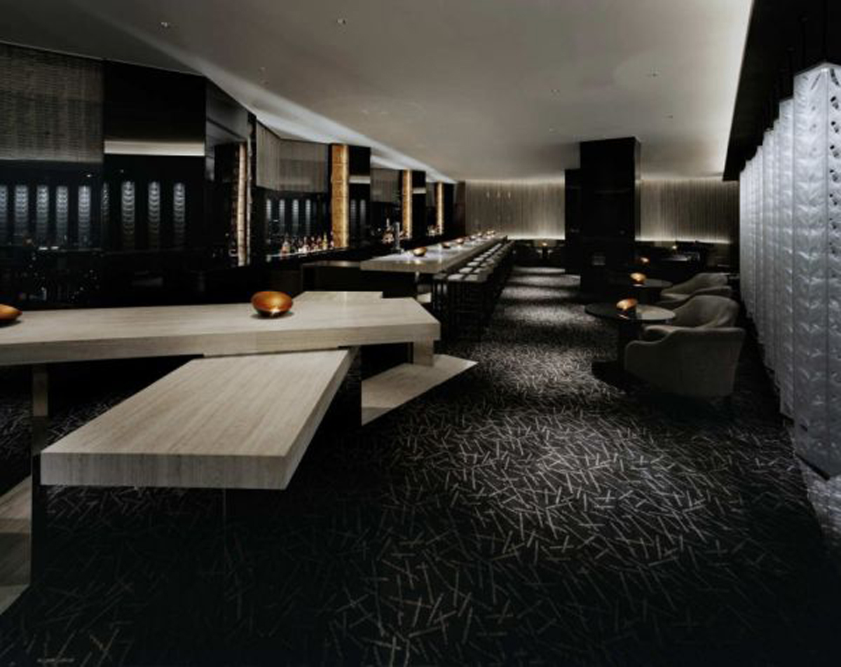 futuristic black bar interior design
