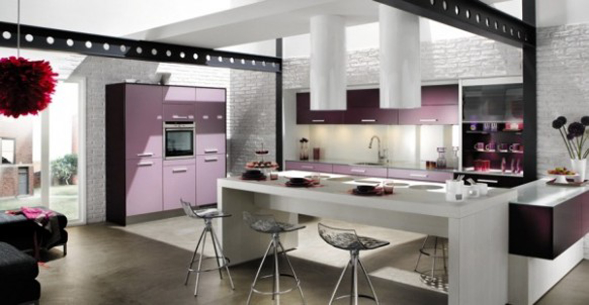 kitchen ideas one of 4 total images modern purple kitchen design
