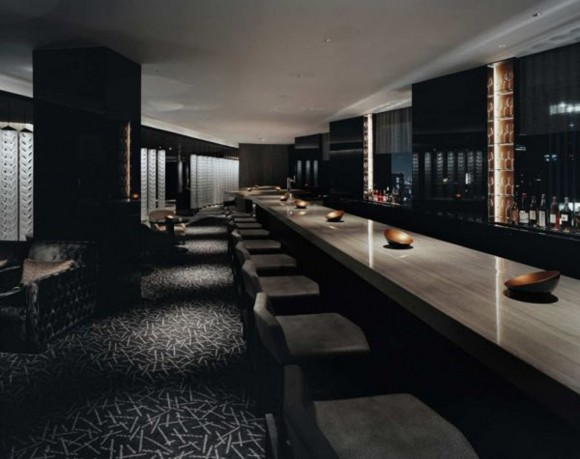 Modern and futuristic dark bar interior design with for Restaurant interior design app