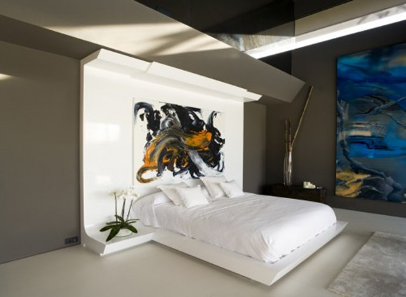 artistic colorless bedroom layouts