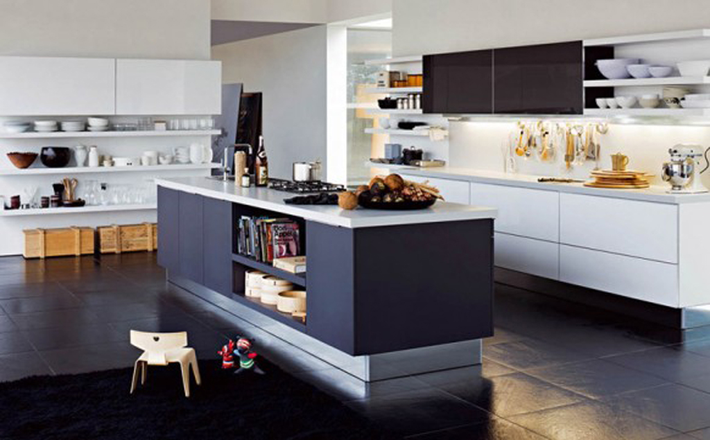 Black and white home kitchen decor for White and black kitchen designs
