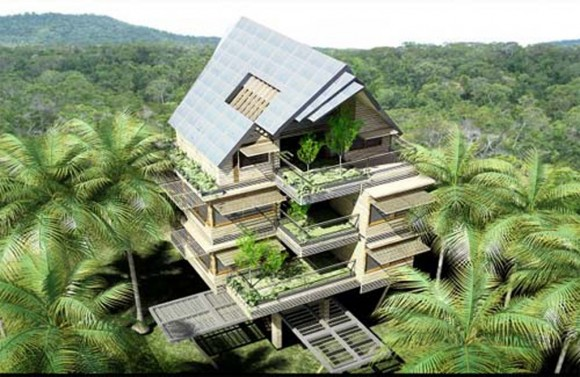 green tropical apartment designs