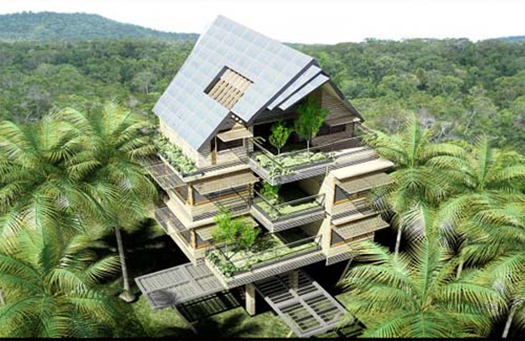 Green tropical apartment designs for Tropical home design plans