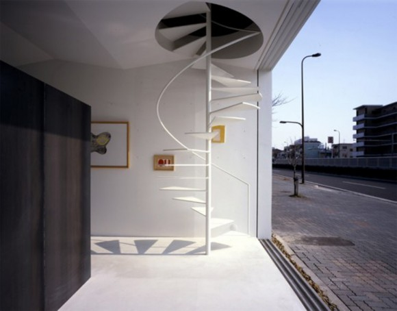 minimalist outdoor spiral staircase constructions