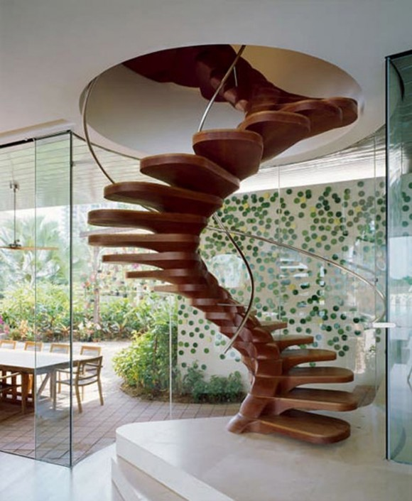 modern wooden spiral staircase layouts