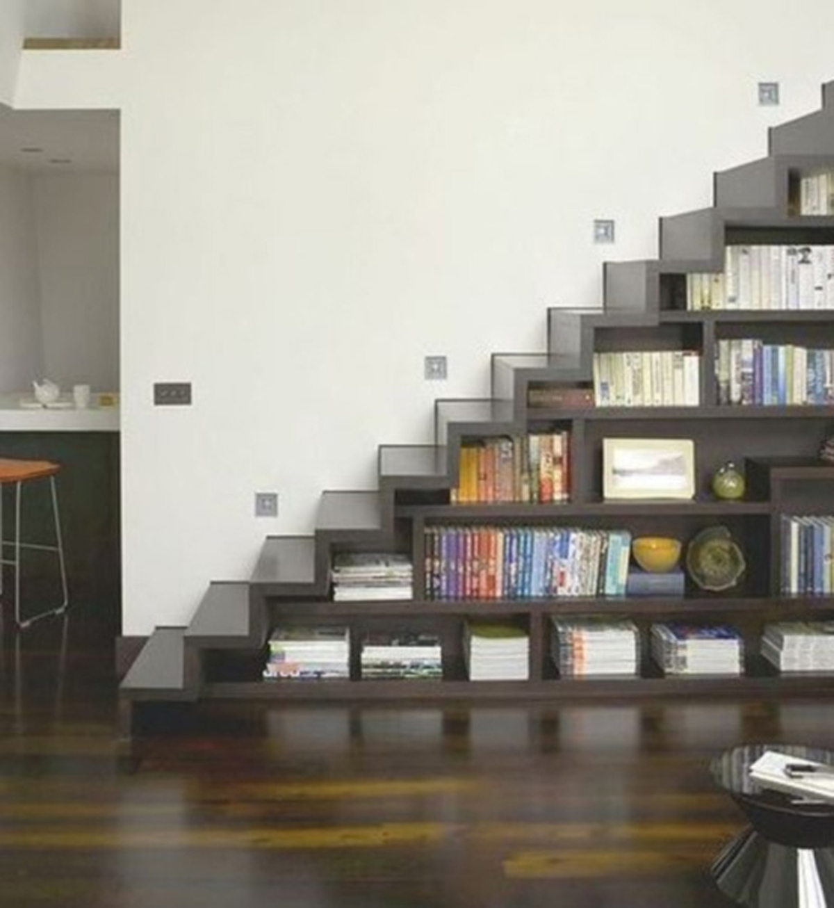 Smart bookshelf staircase designs - Books on home design ...
