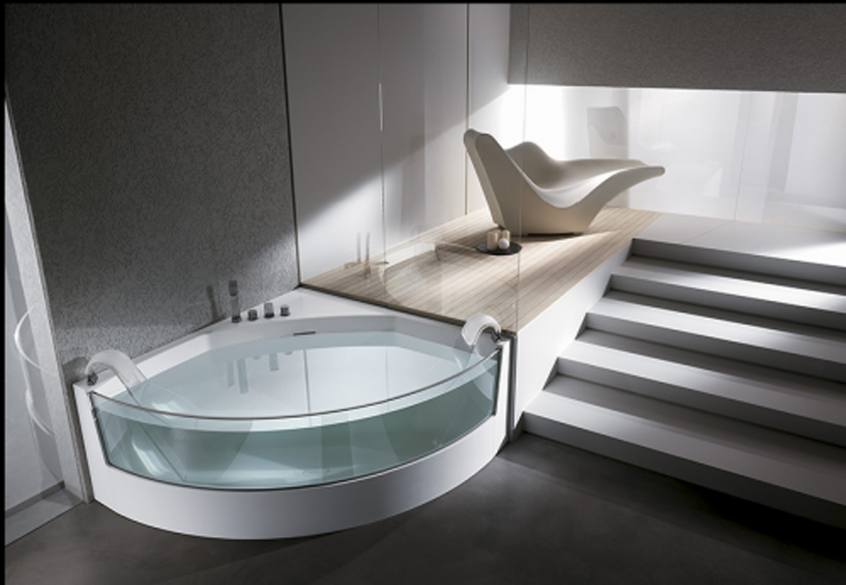 A quarter glass bathtub and jacuzzi ideas for Bathroom tub designs
