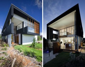 expressive black beach house designs