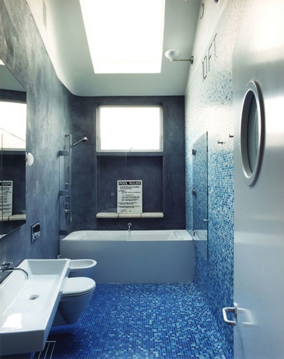 fresh blue black bathroom applications
