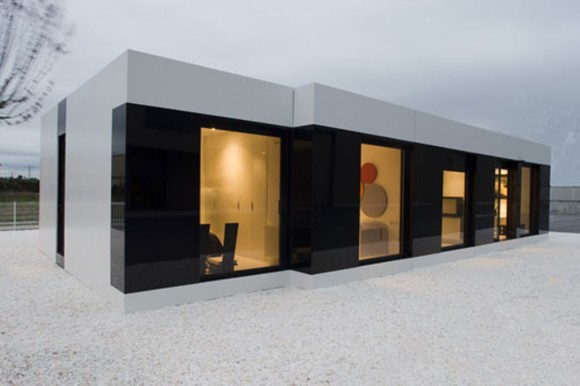incredible black and white modular home