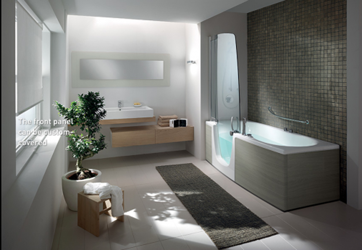Modern bathroom interior landscape for Modern bathroom designs