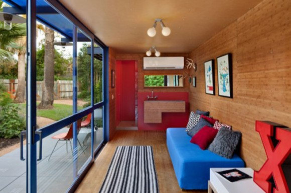 contemporary container home interior