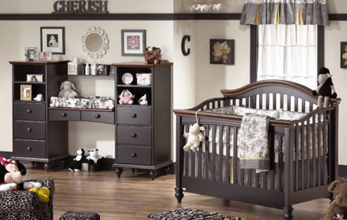 Exclusive black bedroom furniture series for Baby rooms decoration