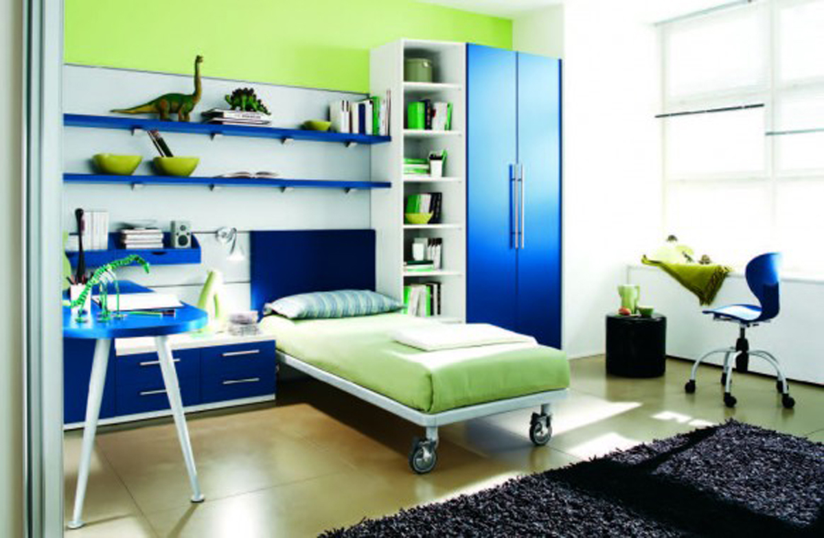 Futuristic teenager room inspirations for Blue and green boys bedroom ideas