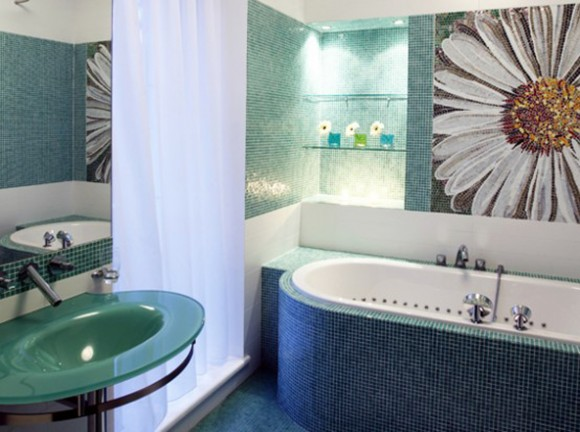 green and clean bathroom layouts