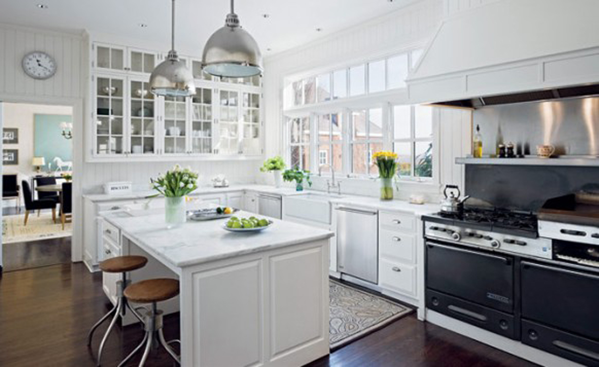 Handsome white green kitchen furnishing ideas for White kitchen designs