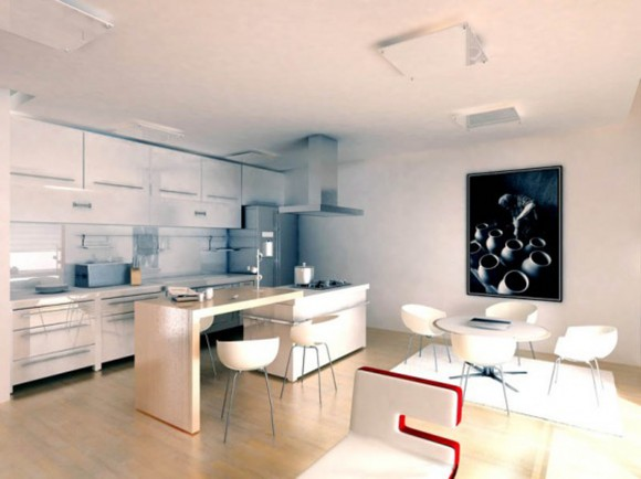 integrated dining room cooking space layouts