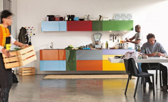 multicolored kitchen cabinet designs