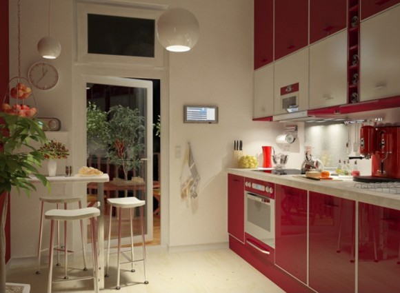stylish red cooking space ideas