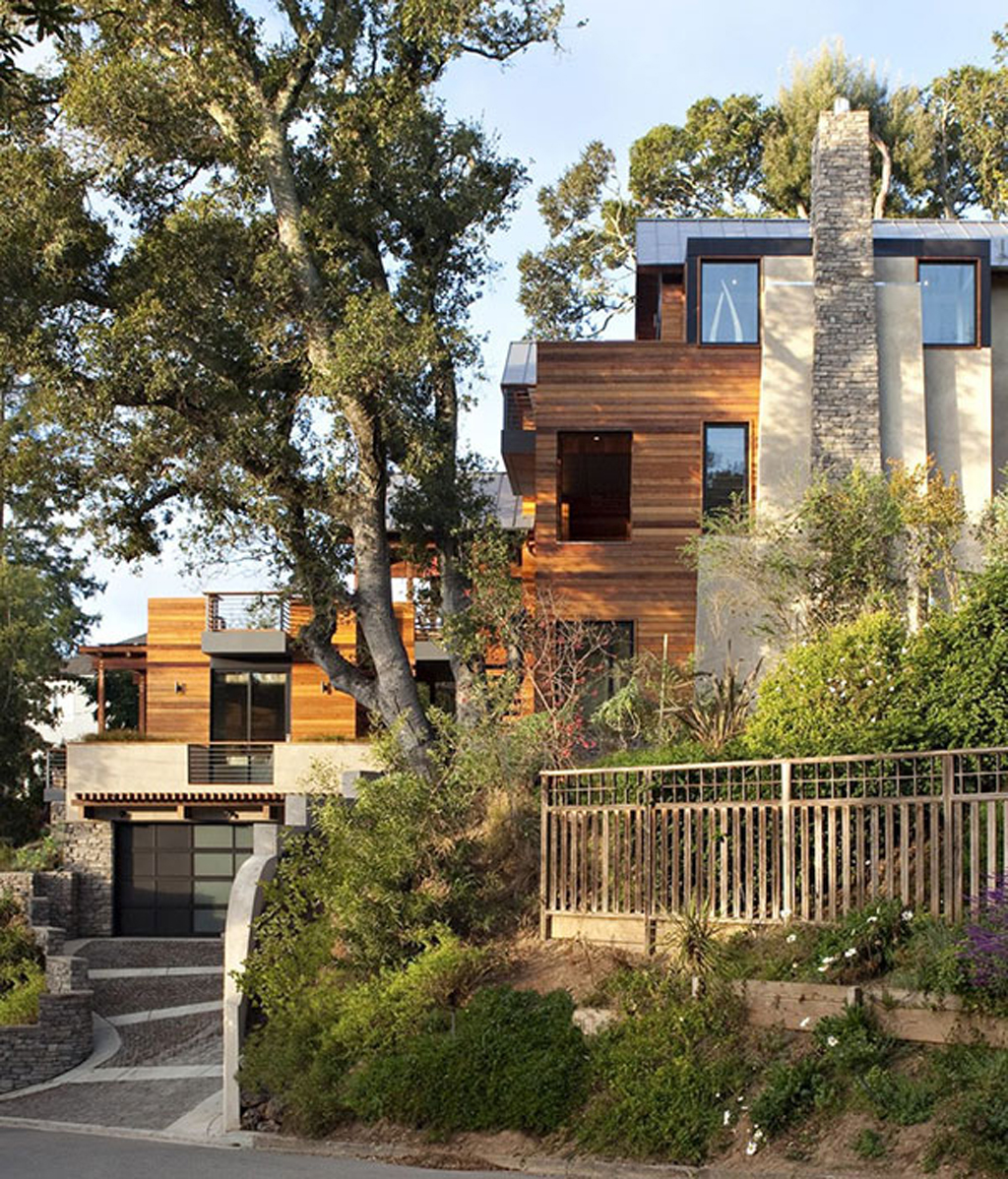 Awesome wooden home designs with hillside inspirations for Hillside home designs plans