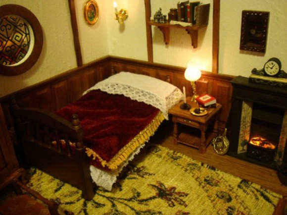 country look bedroom miniature